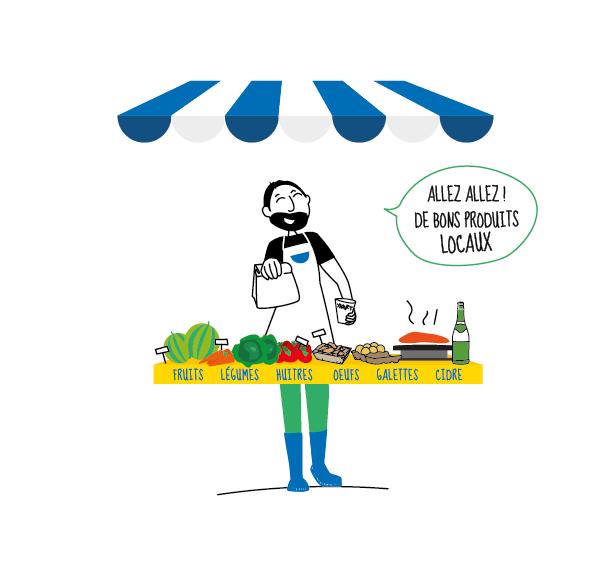 illustration marché estival