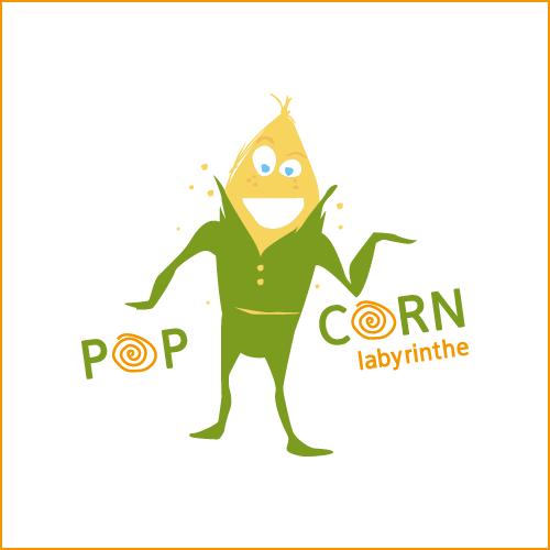 Mascotte Pop corn , labyrinthe de maïs